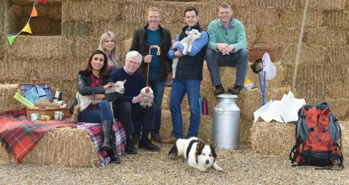 BBC-Countryfile-presenters-pose-next-to-a-sixteen-foot--E2-80-9Chaystack-E2-80-9D-at-Blenheim-Palace-to-promote-BBC-Countryfile-Live